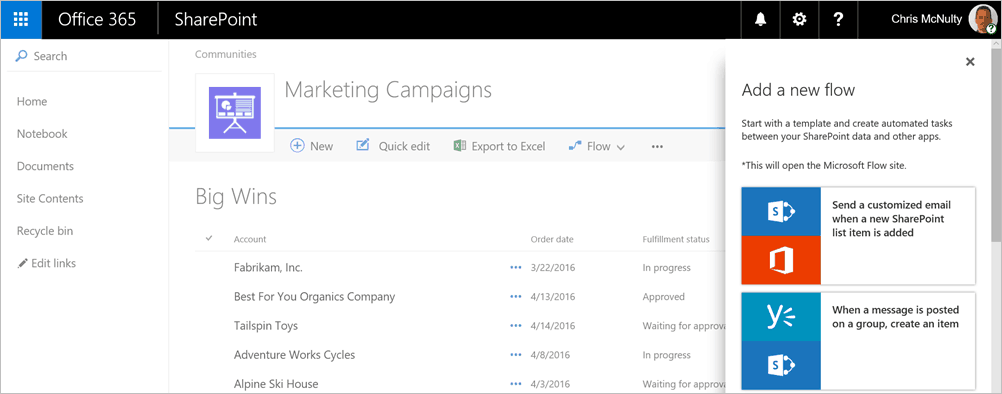 Set up a new Flow from SharePoint.