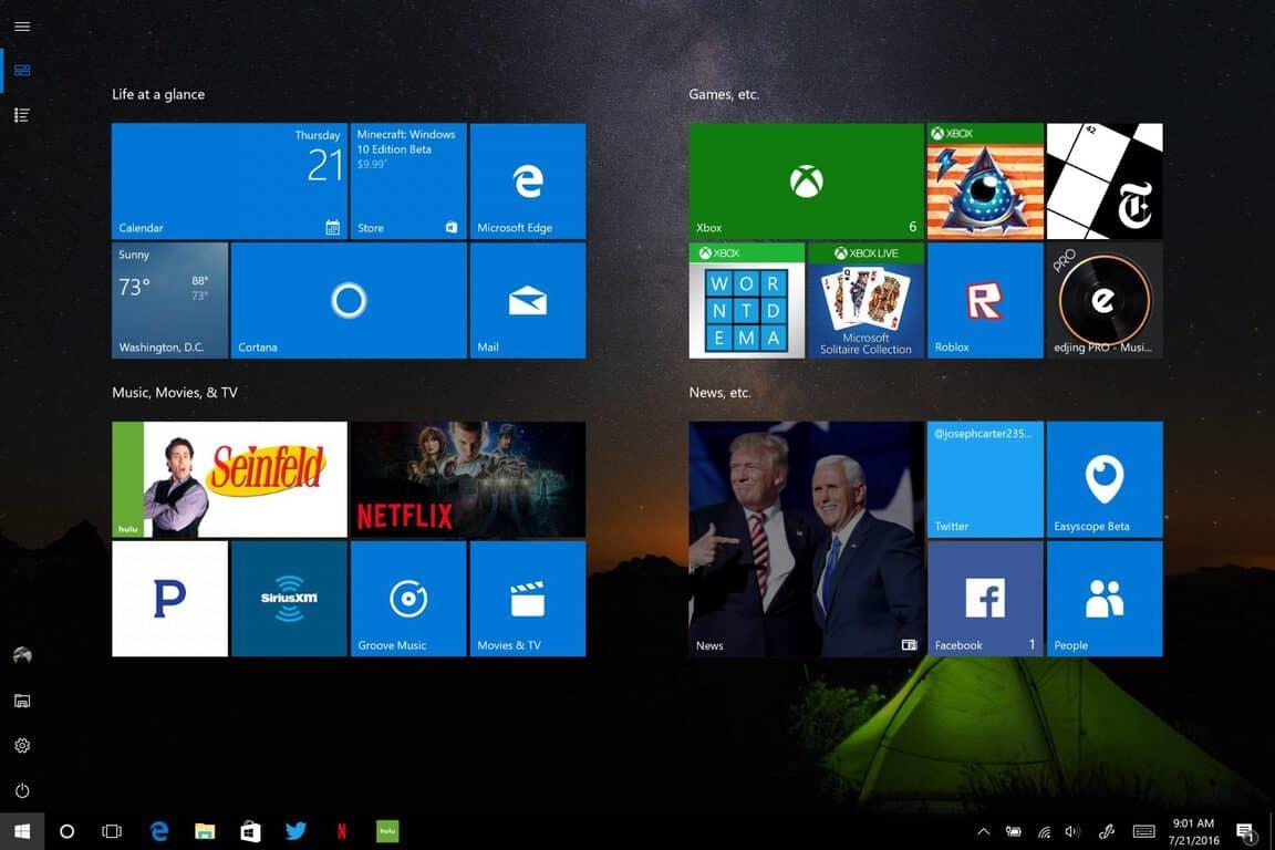 Windows 10, Anniversary Update, Start menu