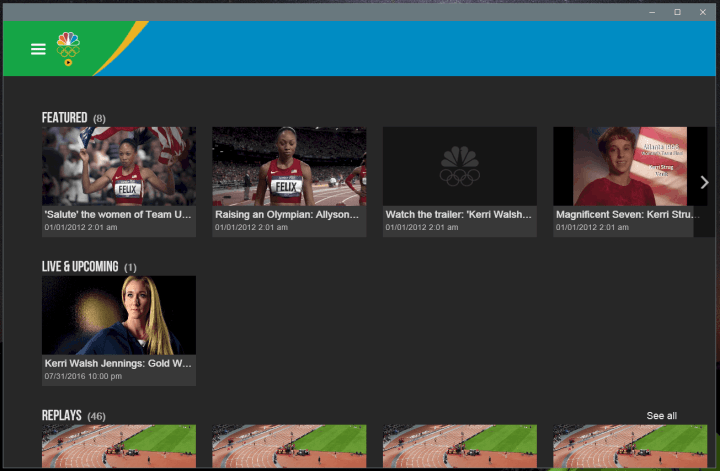 The NBC Sports app features a dedicated 2016 Summer Olympics section.