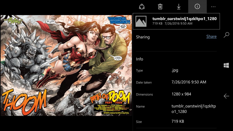 Windows 10 Mobile OneDrive app image view