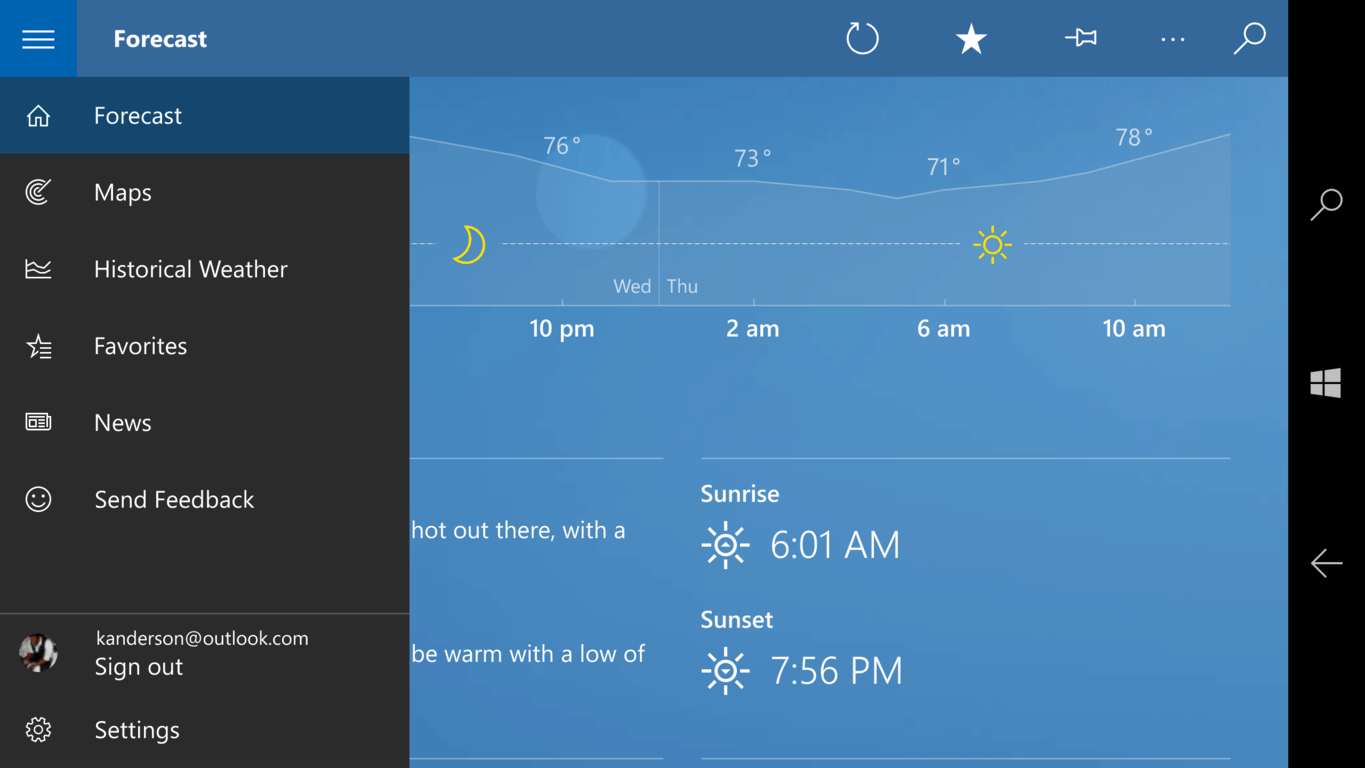Windows 10 Weather