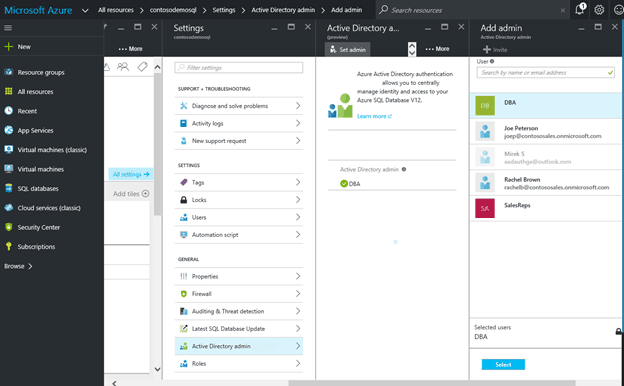 screenshot below shows an Azure portal AD administrator DBA