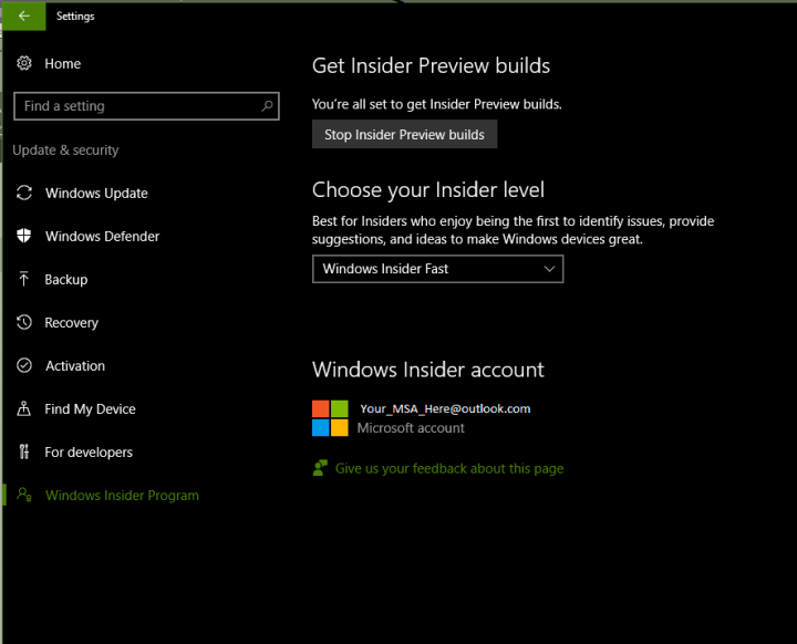 This setting page is not functioning as expected in Windows 10 Insider build 14905.