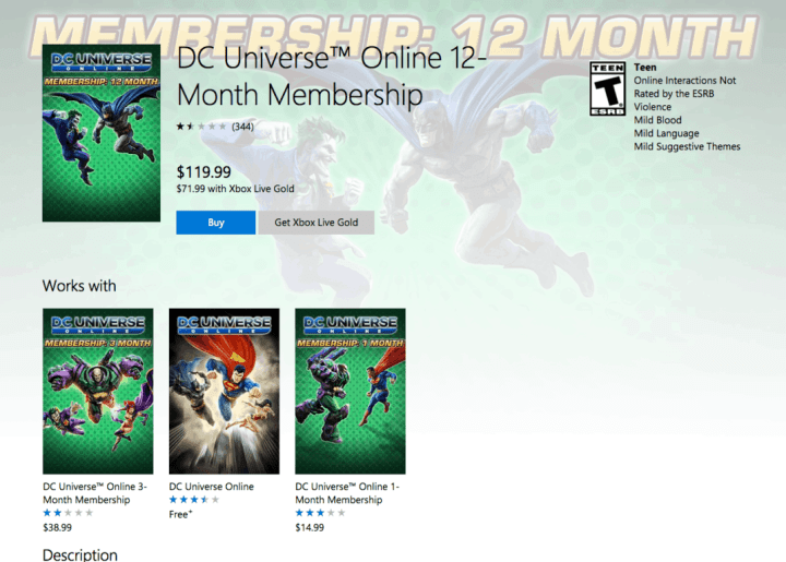 The DC Universe Online 12-Month Membership on the Xbox Store.