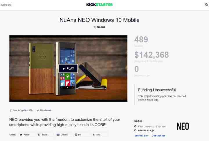 The NuAns NEO Kickstarter page.