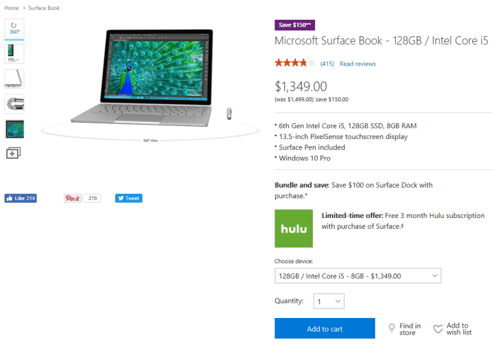 Surface Book 150 Off Deal