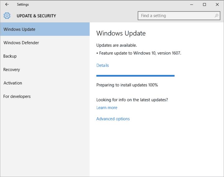 Windows 10 Anniversary Update Prompt