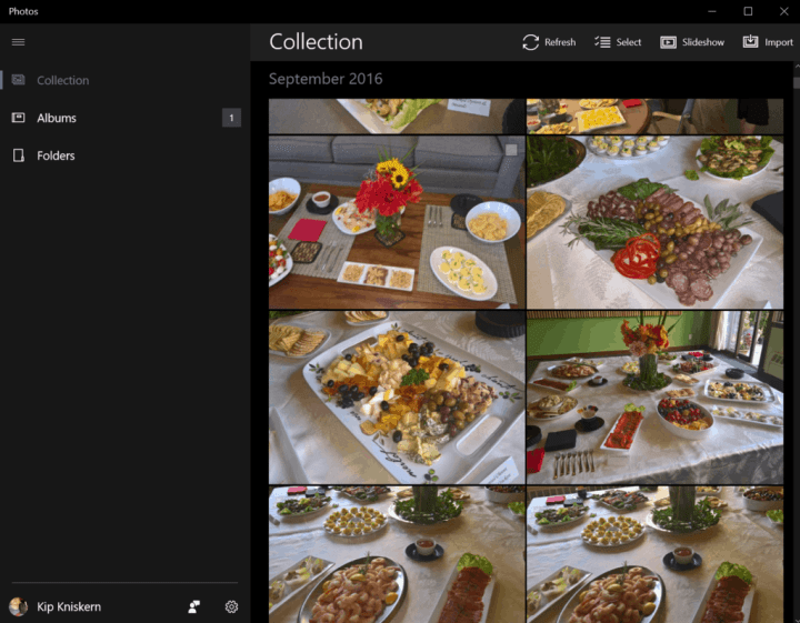 The new Photos app on Windows 10.