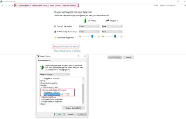 Windows 10, Power, Options