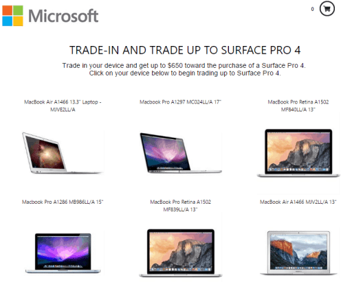 Microsoft trades in MacBook devices for discount on Surfacebook and Surface Pro 4