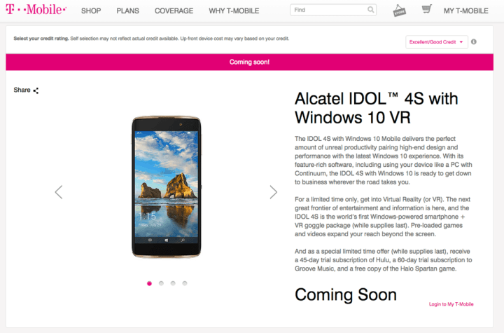 The official product page on T-Mobile's website.