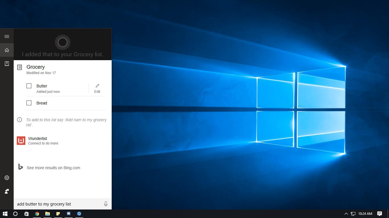 Cortana List Windows 10