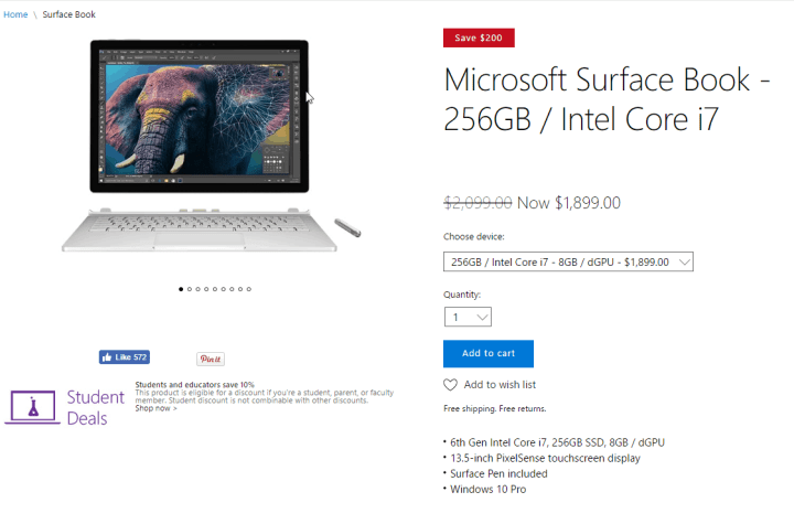 Original Surface Book models on sale at Microsoft Store.