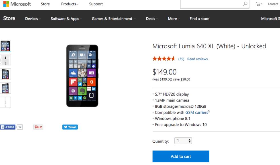 Lumia 640 XL Microsoft Store US
