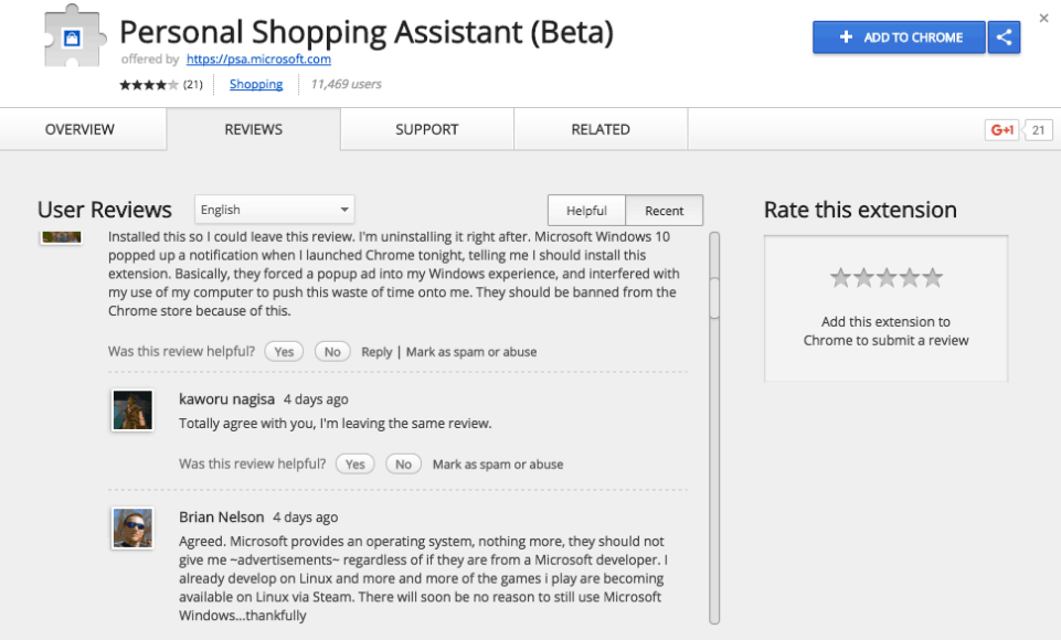 Microsoft Personal Shopping Assistang Chrome web store reviews