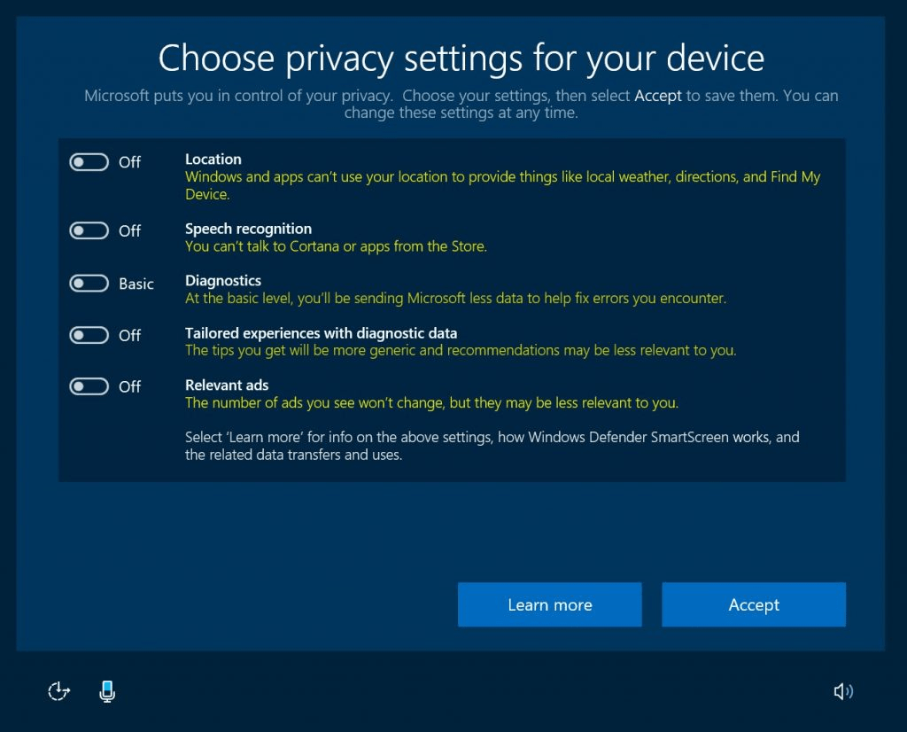 New Windows 10 Privacy Settings