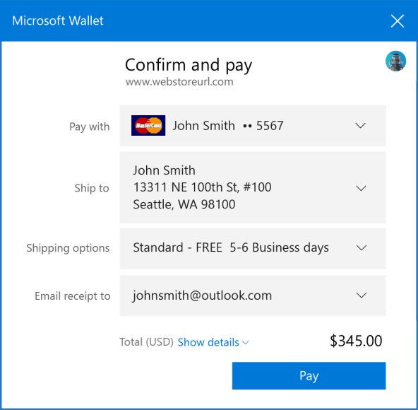 Windows 10 Insider build 15002 wallet ui web payments