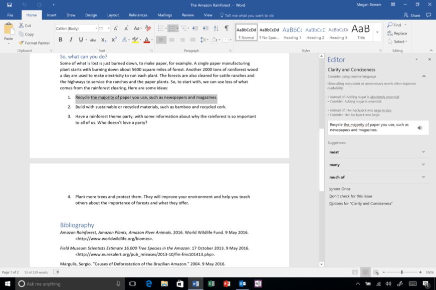 Word Editor pane