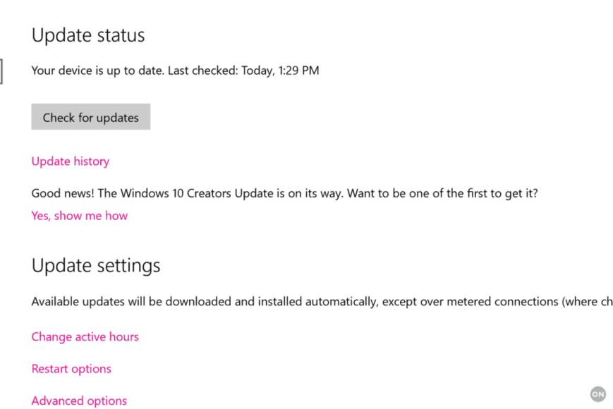 Windows 10 Update in Settings
