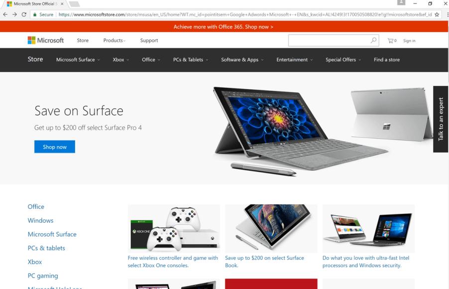 Microsoft Store, Google, Chrome