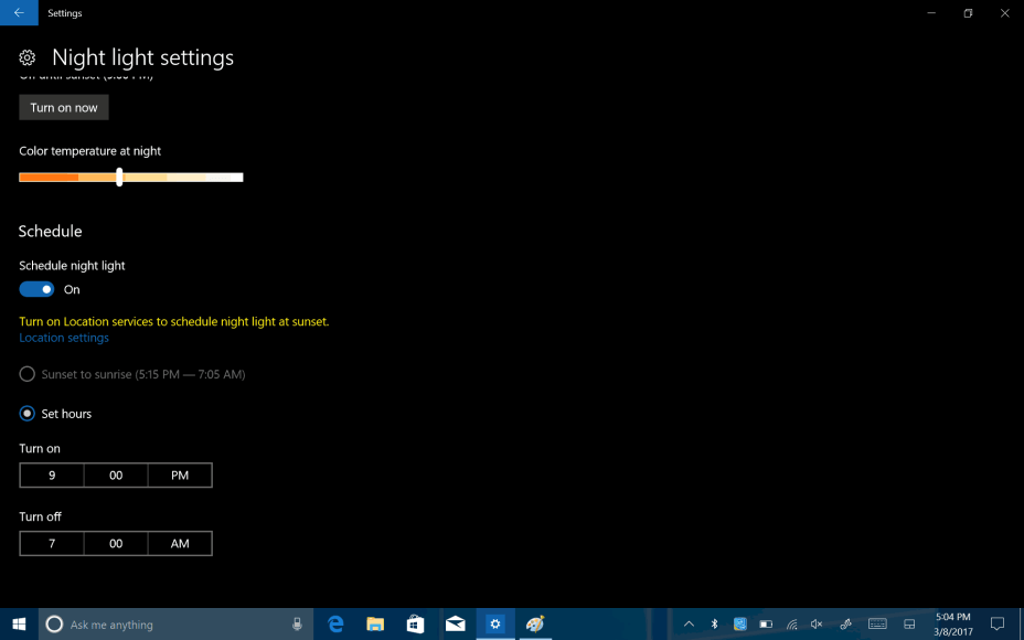 windows 10 how to keep night light on permanently
