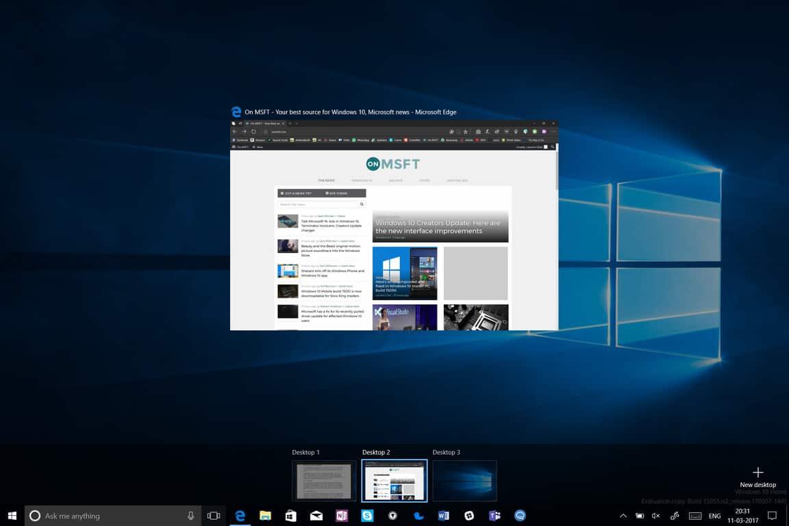 what is windows 10 new desktop