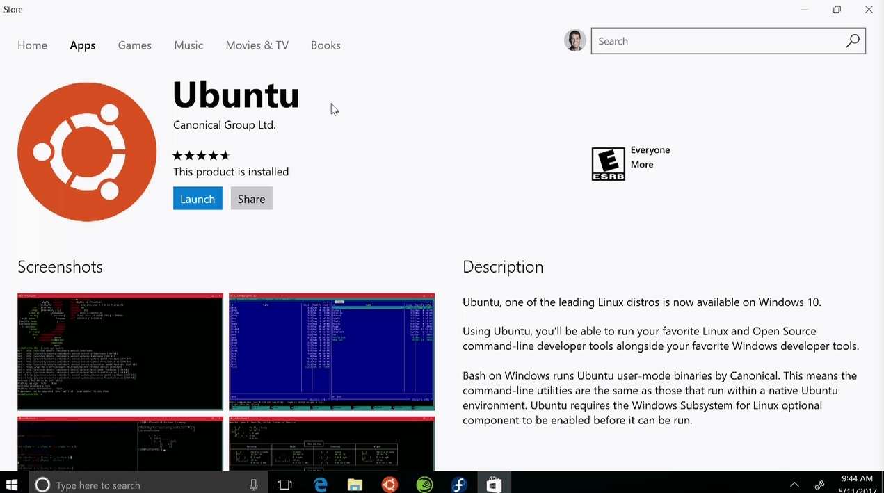 Ubuntu Windows Store