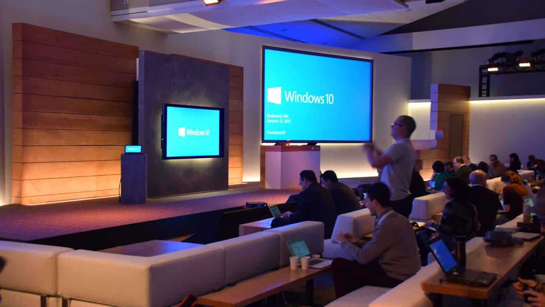 The Windows logo displayed on screens in a studio