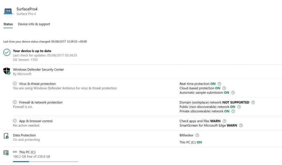 Deive Status Microsoft Device Account Page