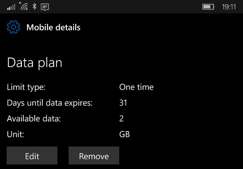 Screenshot of the Windows 10 Mobile Data plan screen
