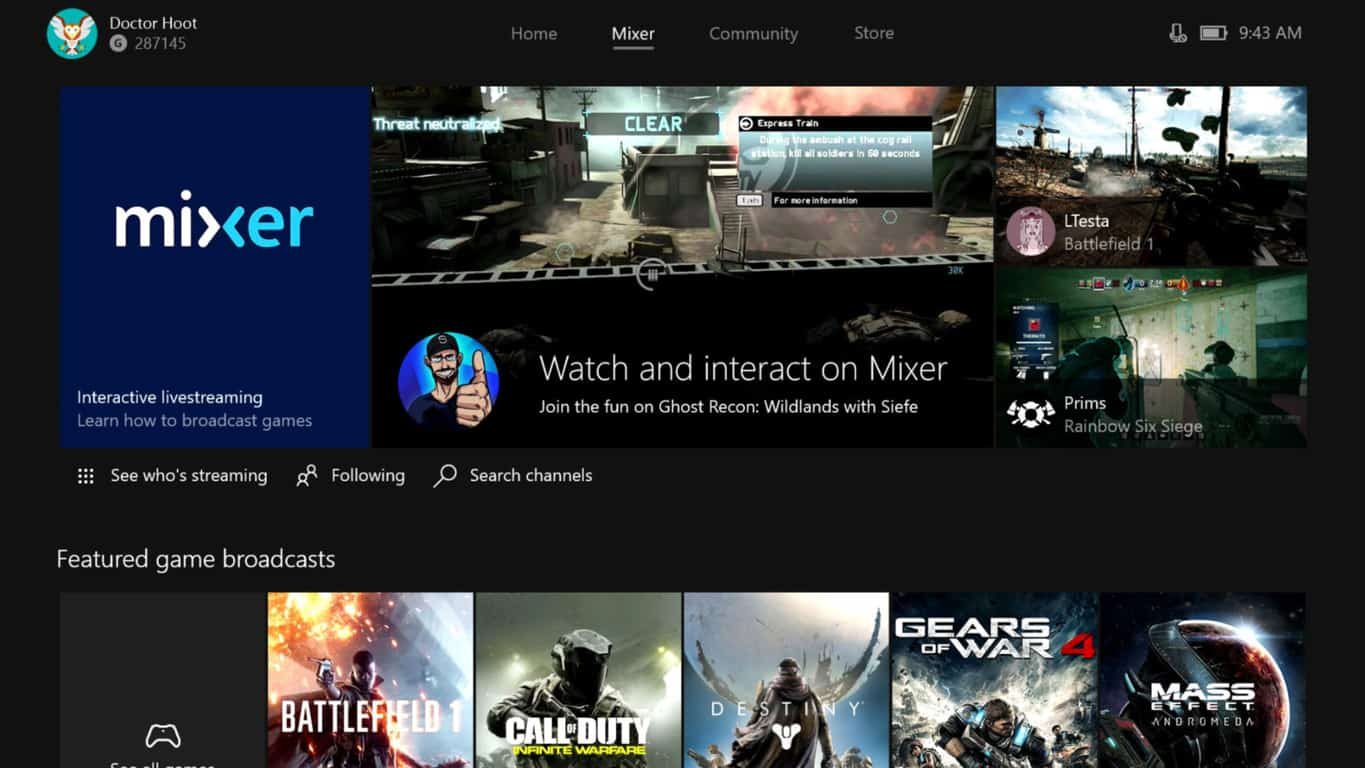 Xbox One dashboard - Mixer