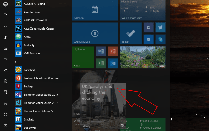 Screenshot showing creating a live folder on Windows 10