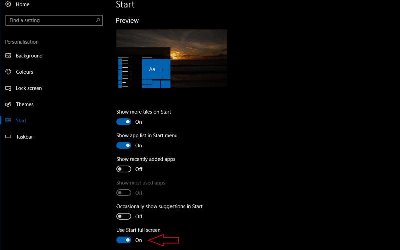 Screenshot of Windows 10 Use Start full screen toggle