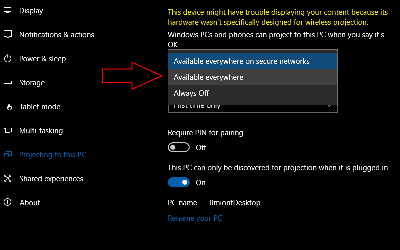 Close-up screenshot of Windows 10 project to PC availability settings