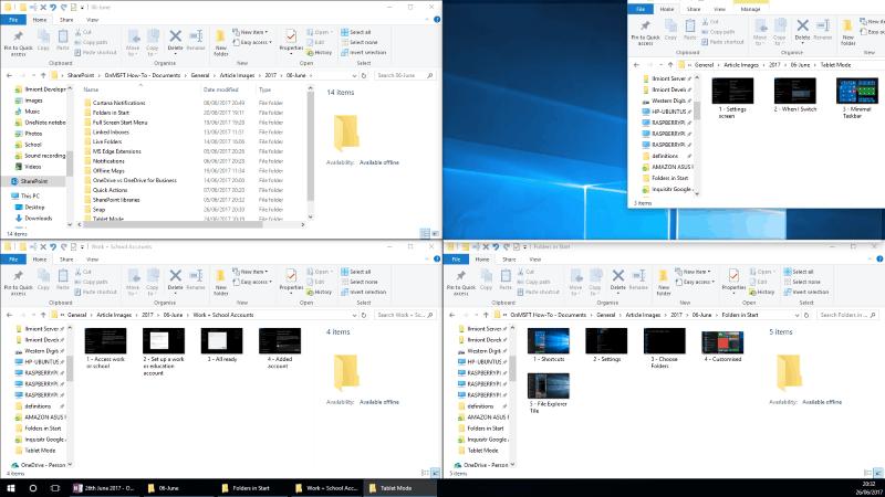Screenshot of Windows 10 2x2 Snap layout
