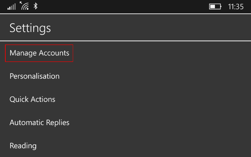 "Screenshot of ""Manage accounts"" in option in Windows 10 Mail app"