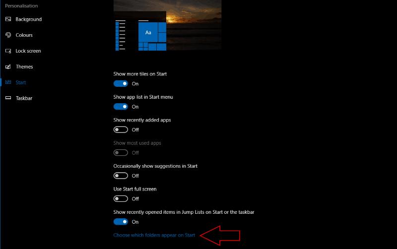 Screenshot of Windows 10 Start menu settings