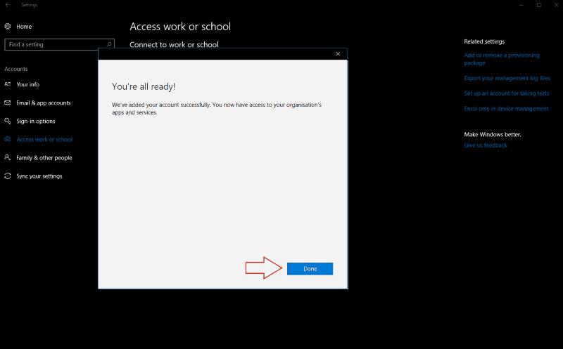 Screenshot of Windows 10 add account confirmation screen - www.office.com/setup