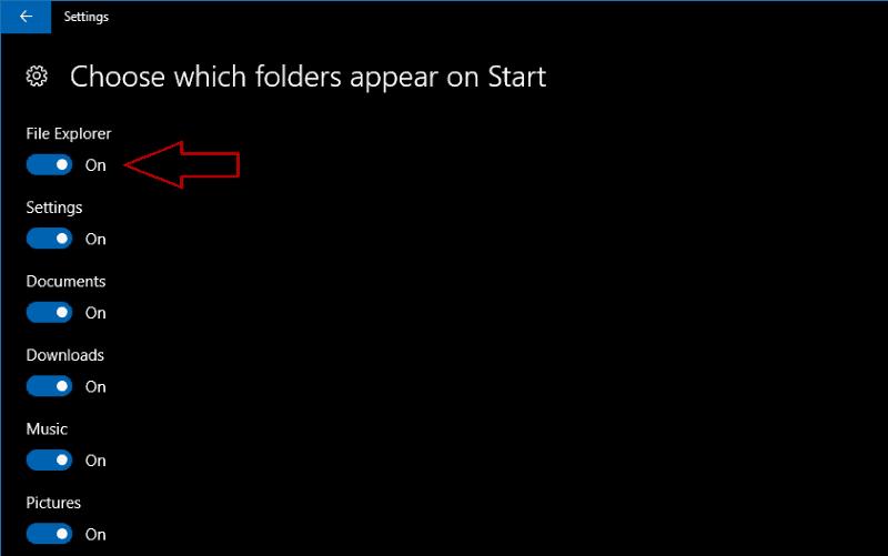 Screenshot of Windows 10 choose Start folders screen