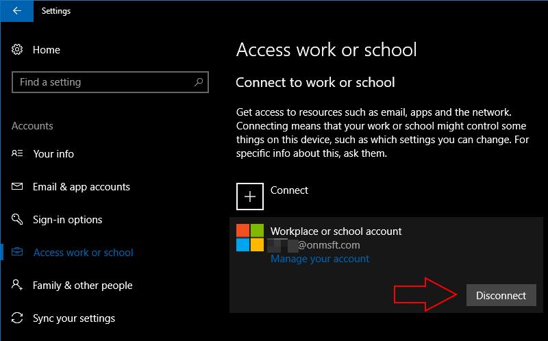 Screenshot of Windows 10 removing an account - www.office.com/setup