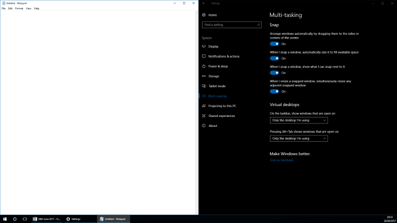 Screenshot of Windows 10 Snap with automatic sizing