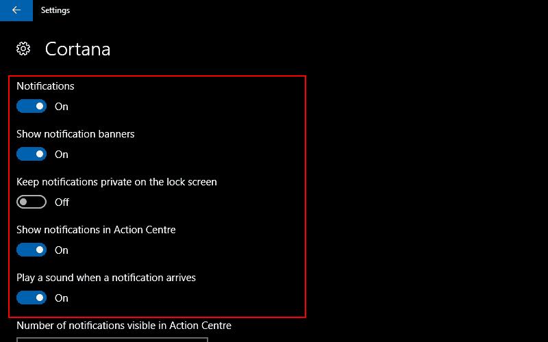 Screenshots of Windows 10's per-app notification settings