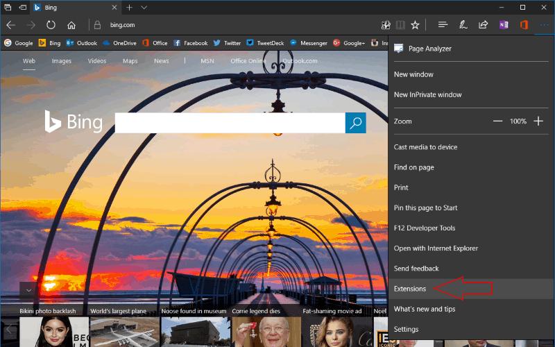 Screenshot showing the Microsoft Edge extensions menu