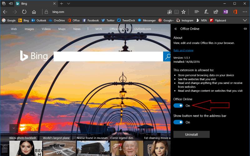 Screenshot showing the Screenshot showing the Microsoft Edge extension settings pane
