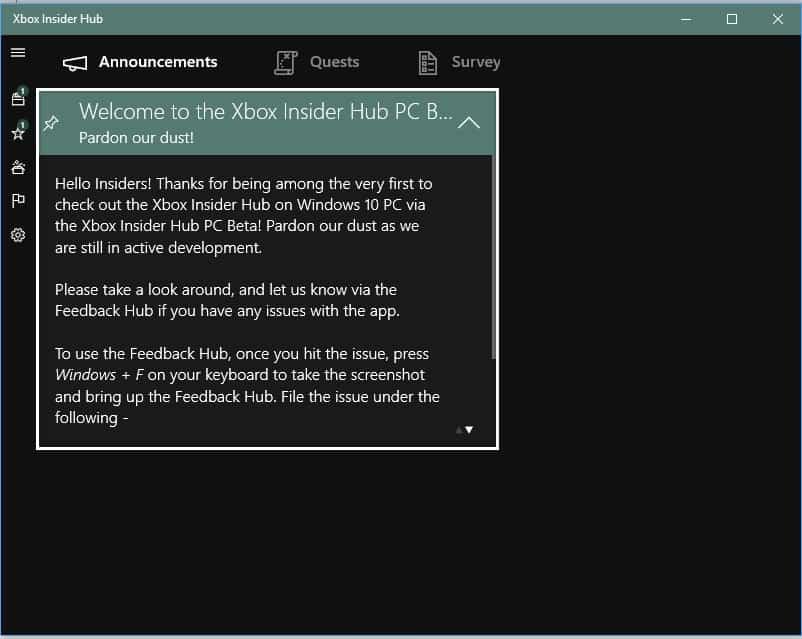 Xbox Insider App on Windows 10