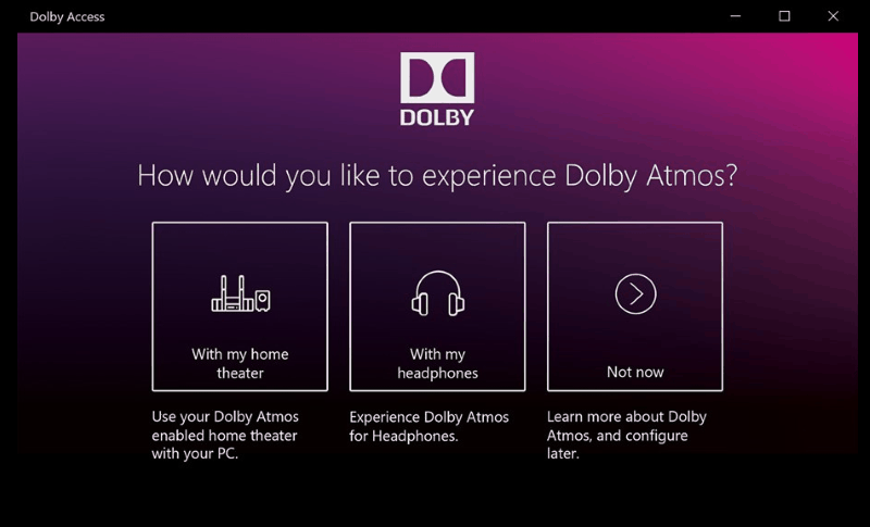 Screenshot of Windows 10 Dolby Atmos settings