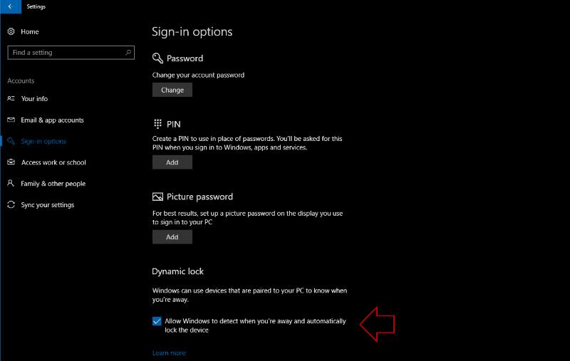 Screenshot of Windows 10 Dynamic Lock