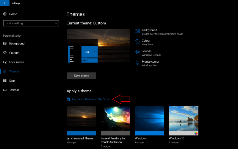 how to install themes from the windows store in windows 10 on msft