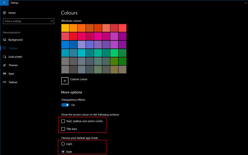 Screenshot of Windows 10 colour accent settings