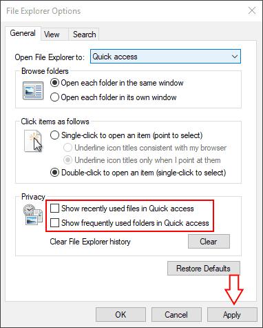 Screenshot of Windows 10 File Explorer settings